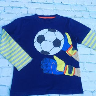 Mini Boden navy blue layered top with applique football design